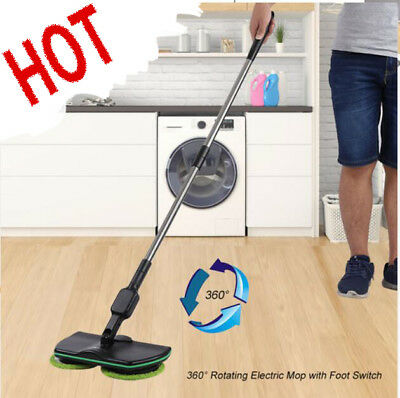 Wireless Rotary Electric Mop Rechargeable Floor Mops Cleaner Scrubber Polisher &