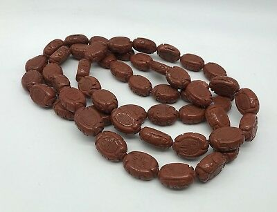 Antique Chinese Heavy Carved Red Jasper Shou Beaded  Necklace, 395g