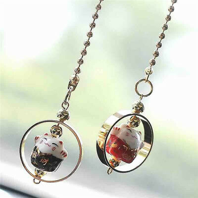 Lucky Cat Car Hanging Pendant Charm Good Luck Wealth Safety Decor BS