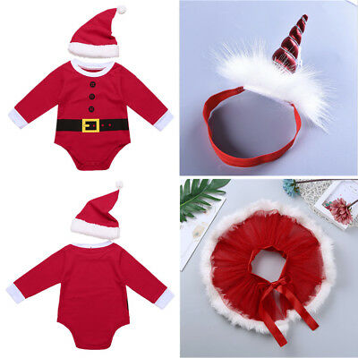 Toddler Baby Boys Girls Christmas Clothes Outfit Santa Clause Party Romper Dress