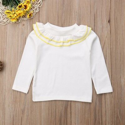 Toddler Baby Girl Cotton Long Sleeve T-shirt Solid Tops Blouse Crew Neck Tee