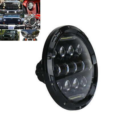 7'' 75W 5460LM Round Black LED Headlight High Low Beam With White DRL For Harley