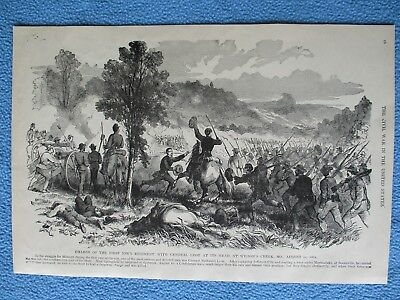 1884 Civil War Print - Charge of 1st Iowa Regiment at Battle of Wilson's Creek