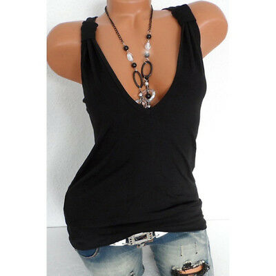 Women's Ladies Sport Yoga Tank Top V Neck Sexy Sleeveless Loose Top LG