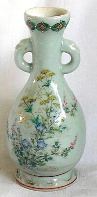 Late C19Th Japanese Celadon Twin Handled Vase Decorated With Flowers