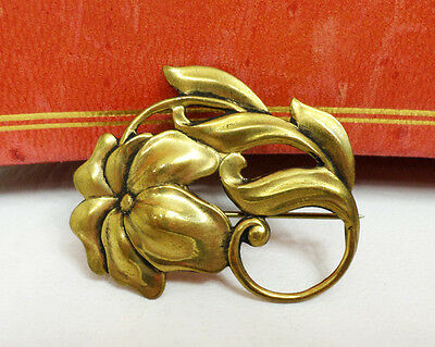 "Pretty Antique Vintage Pressed Brass Art Nouveau Flower Brooch C Clasp 1.5"" Size"