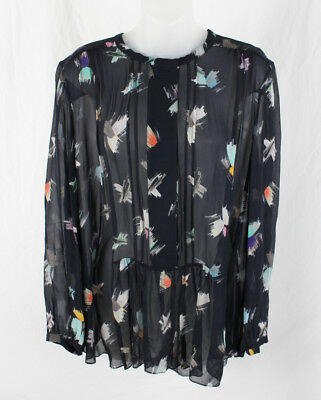 Megan Park Women's Navy Pink Mint Multi Sheer Print Shirt Top Blouse Size S