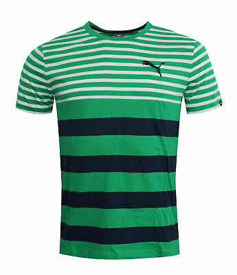 61b5eba0ae7 Puma FUN Dry Striped Mens Tee T-Shirt Short Sleeved Top Green 838853 09 RW47