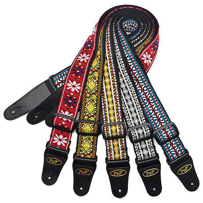 Vintage Flowers Stripes Fabrics Guitar Strap for Acoustic Guitar Bass Adjustable