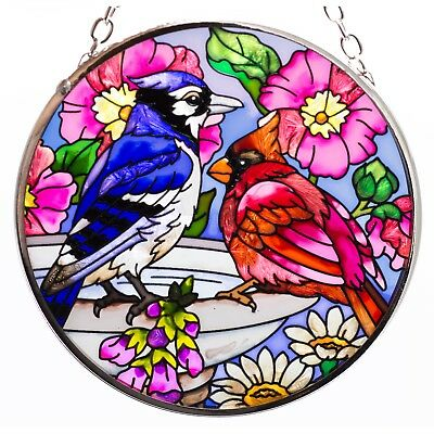 Spring Fling Cardinal & Blue Jay Bird Suncatcher Hand Painted Glass By AMIA 3.5""