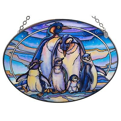 """Penguins and Chicks Suncatcher Hand Painted Glass By AMIA Studios 7"""" x 5"""""""