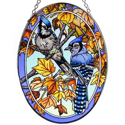 "Blue Jays and Maple Leaves Suncatcher Hand Painted Glass By AMIA Studios 7"" x 5"""