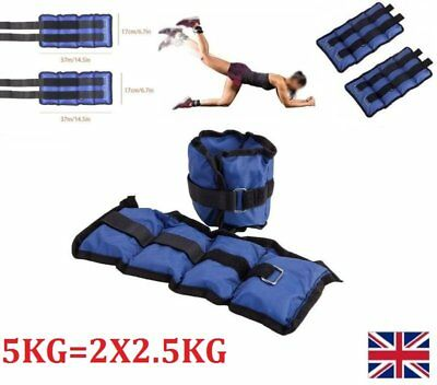 A Pair 5Kg Adjustable Ankle Wrist Leg Weights Sand Bag Fitness Strength Training