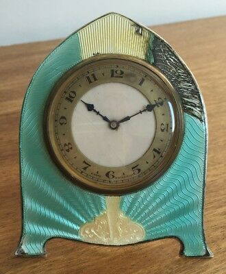 Antique Adie Brothers Silver Guilloche Enamel 8 Days Swiss Clock Art Deco 1932