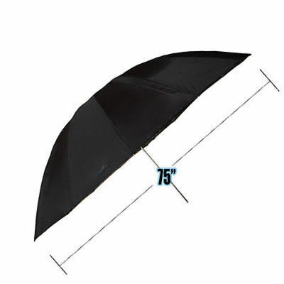 "Photo Photography Studio 75"" Black/Silver Reflective Umbrella"