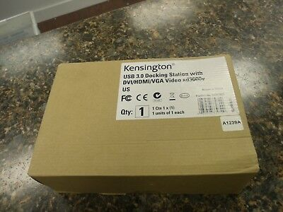 NEW Kensington USB 3.0 Docking Station with DVI/HDMI/VGA Video sd3000v US #4SO