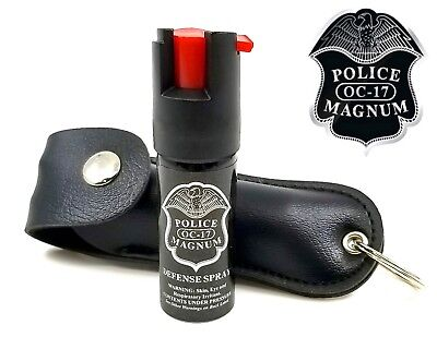 Police Magnum pepper spray 1/2oz Black Keychain Holster Case Security Protection