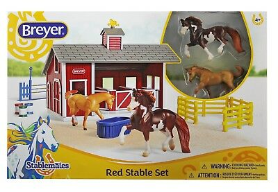 Horse and Stable Toy for Kids with Red Barn 2 Horses Action Figure for Girls NEW