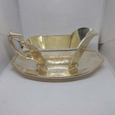 Antique Gorham EP Silverplate 8 oz Gravy Boat Sauce 0927 and Underplate 0928