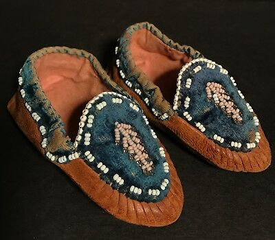 Beautiful 19th C. Northeastern Native American Moccasins, Provenance, Excellent
