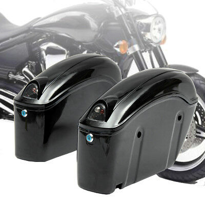 Motorcycle Side Case Hard Saddle Bag Trunk Tail Light Tank Bracket Luggage Box