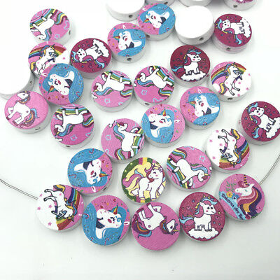 Mixed Round Wood Loose Beads Unicorn pattern For jewelry making Wood Beads