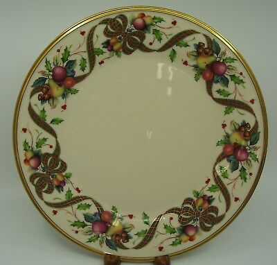 Lenox Holiday Tartan Dinner Plate Plaid Ribbon Fruit Holly Dimension Collection