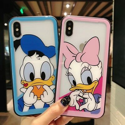 Cartoon Duck Lovers Tempered Glass Phone Case Cover For iPhone XS Max 6 7 8 Plus