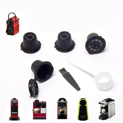 New 4x Refillable Reusable Coffee Capsules Pods For Nespresso Machines Spoon Kit