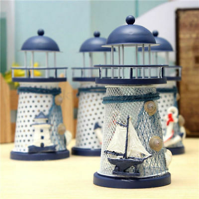 Home Table Decor Mediterranean Lighthouse Iron Candle LED Light sailboat Shell -