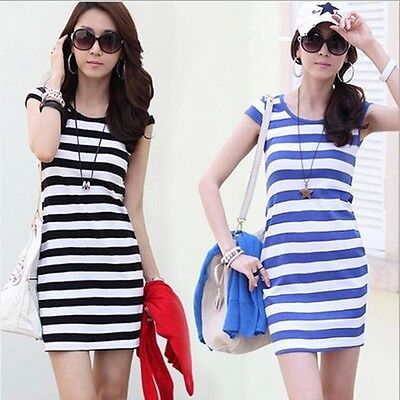 Women's Summer Casual Short Sleeve Striped Crew Neck Silm Bodycon Mini Dress BS