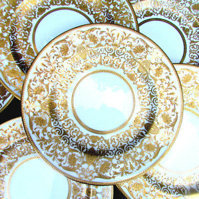 8 Magnificent Antique Gold Encrusted Filigree Crown Staffordshire Service Plates