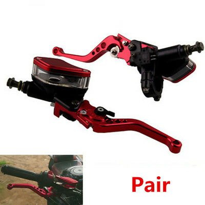 "Red CNC Aluminum 7/8"" Motorcycle Hydraulic Brake Master Cylinder & Clutch Lever"