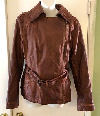 Guess Donna Similpelle Moto Giacca Marrone Taglia Large