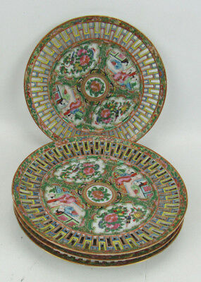 "4 Antique Rose Medallion Reticulated Pierced 8 1/2"" Plates Porcelain"