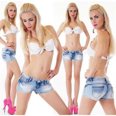 Sexy Used-Look Jeans Hotpants Shorts Destroyed Mit Glitzer Blau #h1488