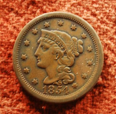 1854 US American Extra Fine Liberty Braided Head Large Cent