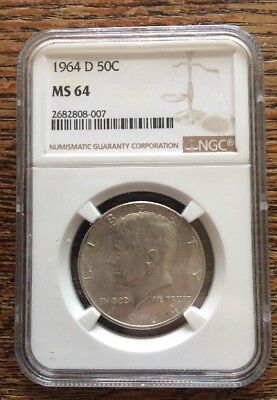 1964 - MS 64 -KENNEDY SILVER Half Dollar NGC CERTIFIED. First Year Issued!