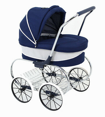 Valco Baby Just Like Mum Deluxe Princess Doll Pram Stroller - Navy - Brand New