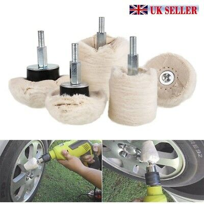 UK 5PC Buffing Pads Mop Wheel Drill For Polisher Aluminum Stainless Steel