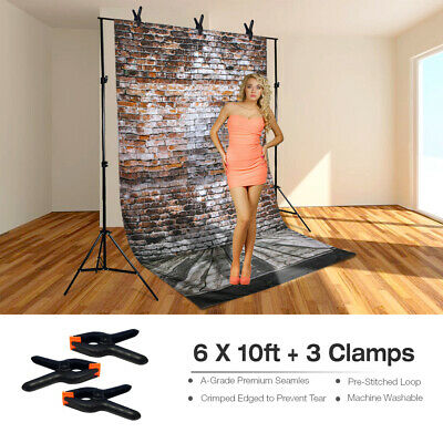 6ft x 10ft Photography Brick Wall Background Wrinkle Resistant w/3 Spring Clamps