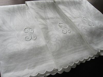 """3 Antique Edwardian White French Huck Linen Damask Towels Mono """"b"""" Exceptional!"""