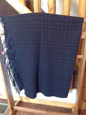 """Vintage Woven Plaid Wool Buggy Blanket  59"""" X 51"""" Shawl Throw Cape Cover RARE"""