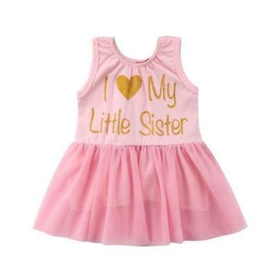 S-049 LITTLE/Big Sister Matching Pink Lace Tulle Dresses 6M-4T (Free Shipping)