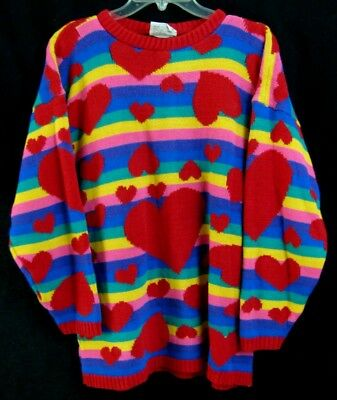 80s VTG Kei Anime Floating Hearts Rainbow Stripe Oversized Knit Sweater Top