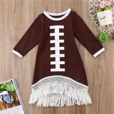 S-074 Girl's Toddler Brown Football Tassels Dress Size 12M-5T (Free Shipping)