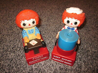 Vintage 1975 Raggedy Ann & Andy Stapler and Pencil Sharpener Set