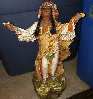 """Vintage Native American Indian Chief 15"""" Statue 1981 Universal Statuary #118"""