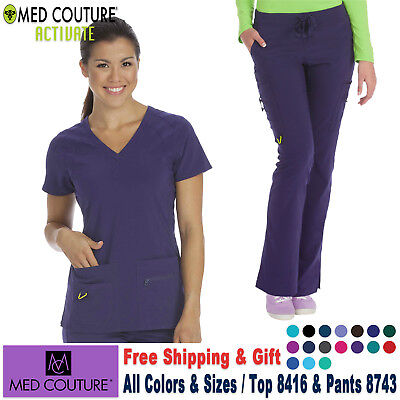 Med Couture Scrubs Satz 4-Way Energie Stretch Oberteil & Hose Stillen