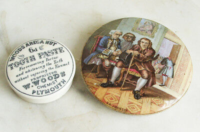 VICTORIAN PRATTWARE POT LID 'Dr JOHNSON' C.1870 & TOOTH PASTE CERAMIC LID